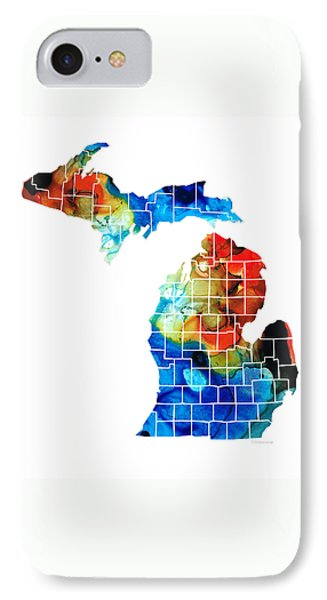 Michigan State Map - Counties By Sharon Cummings IPhone 7 Case by Sharon Cummings