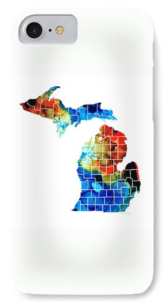 Michigan State Map - Counties By Sharon Cummings IPhone Case by Sharon Cummings