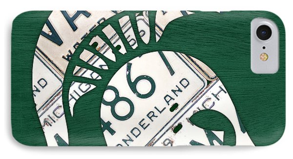 Michigan State Spartans Sports Retro Logo License Plate Fan Art IPhone 7 Case by Design Turnpike