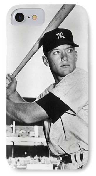 Mickey Mantle At-bat IPhone Case by Gianfranco Weiss