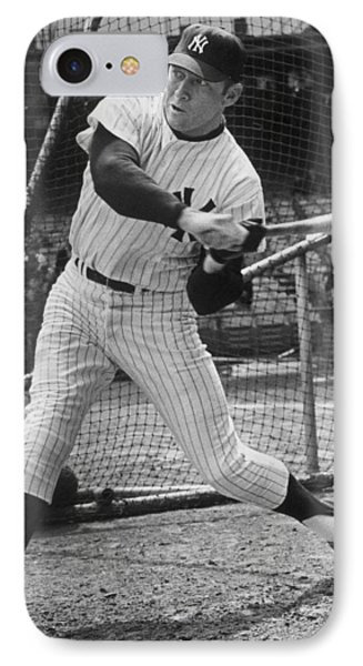 Mickey Mantle Poster IPhone Case by Gianfranco Weiss