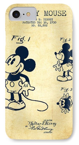 Mickey Mouse Patent Drawing From 1930 - Vintage IPhone 7 Case by Aged Pixel