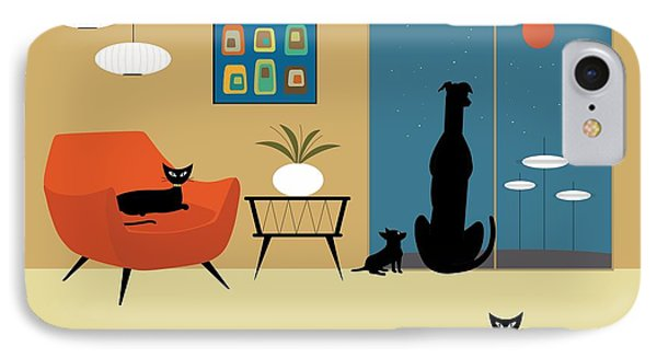 Mid Century Dogs And Cats IPhone Case by Donna Mibus
