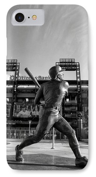 Mike Schmidt Statue In Black And White IPhone Case by Bill Cannon