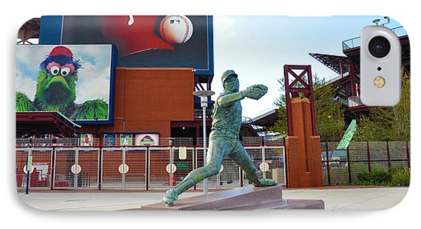 Steve Carlton Statue - Phillies Citizens Bank Park IPhone Case by Bill Cannon