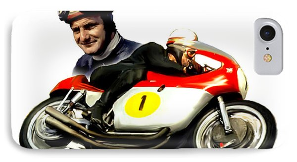 Mike The Bike  Mike Hailwood Phone Case by Iconic Images Art Gallery David Pucciarelli