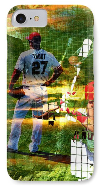 Mike Trout IPhone Case by Robert Ball
