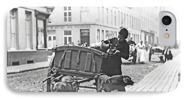 IPhone Case featuring the photograph Milk Wagon Street Scene Germany C 1900 Vintage Photo by A Gurmankin