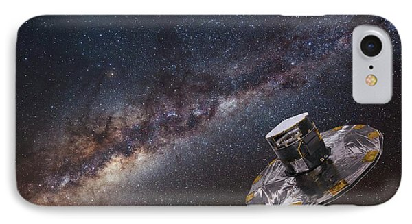 Milky Way And Gaia Satellite IPhone Case by European Space Agency,d. Ducros