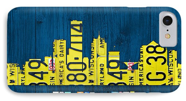 Milwaukee Wisconsin City Skyline License Plate Art Vintage On Wood IPhone Case by Design Turnpike