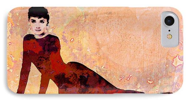 Minimal Audrey Hepburn IPhone Case by Georgiana Romanovna