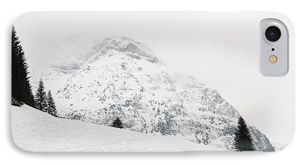 Minimalist Snow Landscape - Mountain And Trees In Winter Phone Case by Matthias Hauser