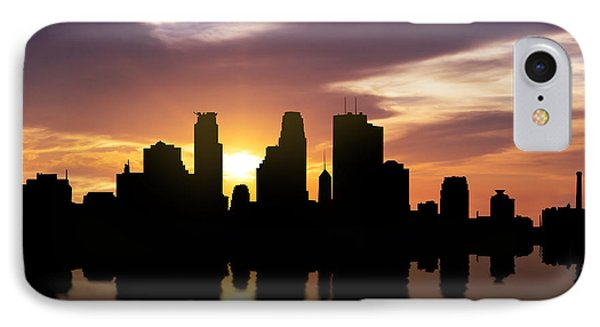 Minneapolis Sunset Skyline  IPhone Case by Aged Pixel