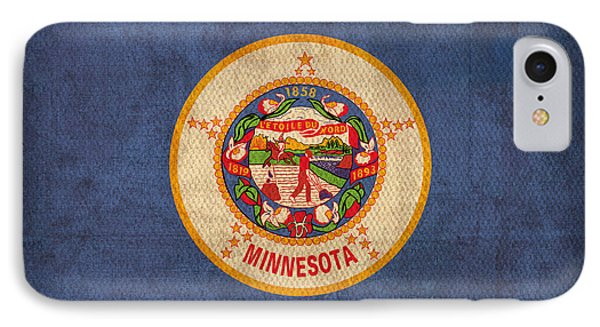 Minnesota State Flag Art On Worn Canvas IPhone Case by Design Turnpike