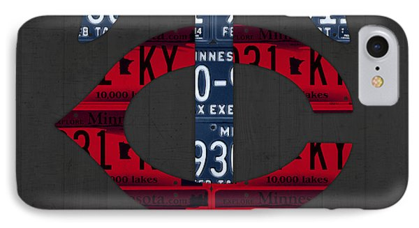 Minnesota Twins Baseball Team Vintage Logo Recycled License Plate Art IPhone Case by Design Turnpike
