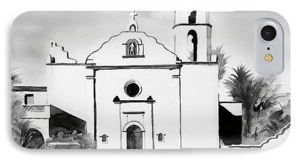 Mission San Luis Rey Bw Blue Phone Case by Kip DeVore