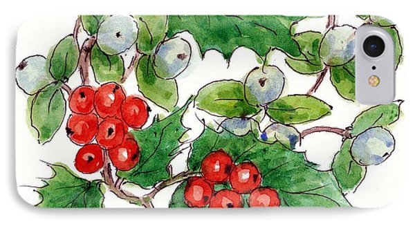 Mistletoe And Holly Wreath IPhone Case by Nell Hill