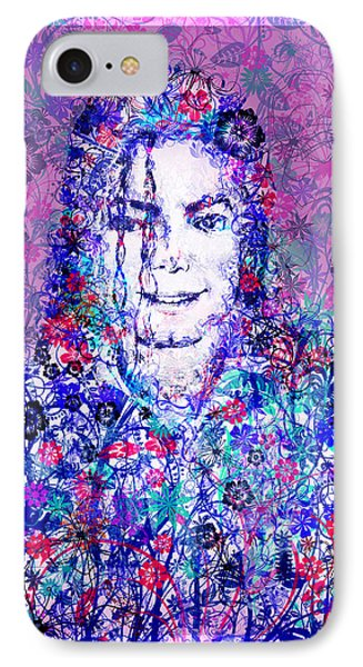 Mj Floral Version IPhone Case by Bekim Art