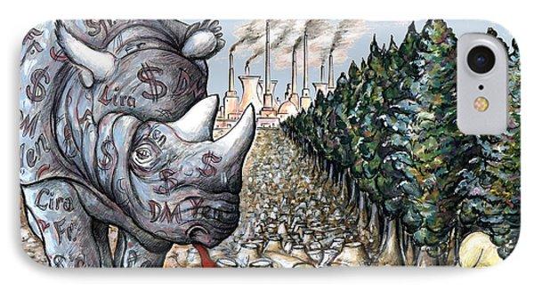 Money Against Nature - Cartoon Art IPhone 7 Case by Art America Online Gallery