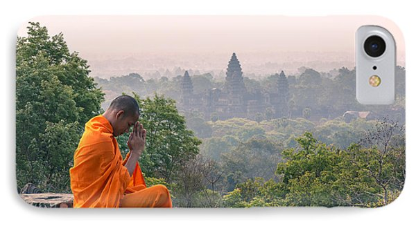Monk Meditating At Angkor Wat Temple- Cambodia IPhone Case by Matteo Colombo