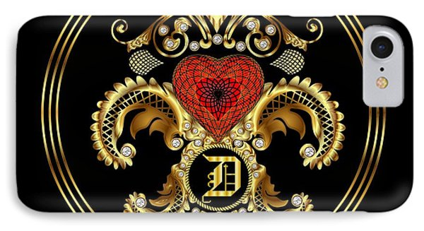 Monogram D Bf Throw Pillow IPhone Case by Bill Campitelle