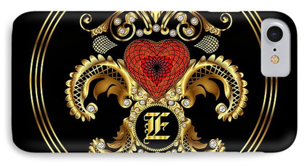Monogram E Bf Throw Pillow IPhone Case by Bill Campitelle