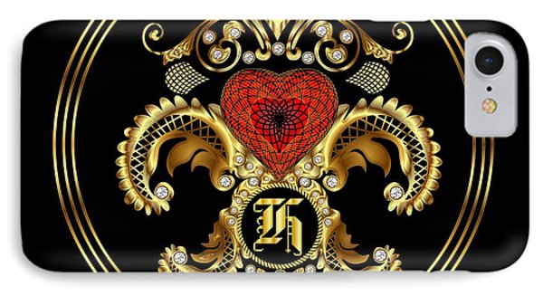 Monogram H Bf Throw Pillow IPhone Case by Bill Campitelle