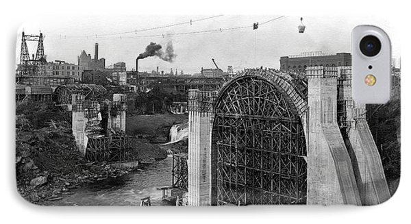 Monroe St Bridge Construction 1910 Phone Case by Daniel Hagerman