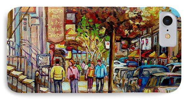 Montreal Streetscenes By Cityscene Artist Carole Spandau Over 500 Montreal Canvas Prints To Choose  IPhone Case by Carole Spandau