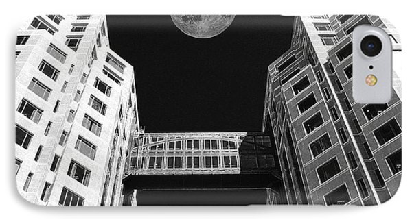 Moon Over Twin Towers Phone Case by Samuel Sheats