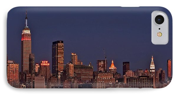 Moon Rise Over Manhattan IPhone Case by Susan Candelario