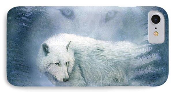 Moon Spirit 2 - White Wolf - Blue IPhone Case by Carol Cavalaris