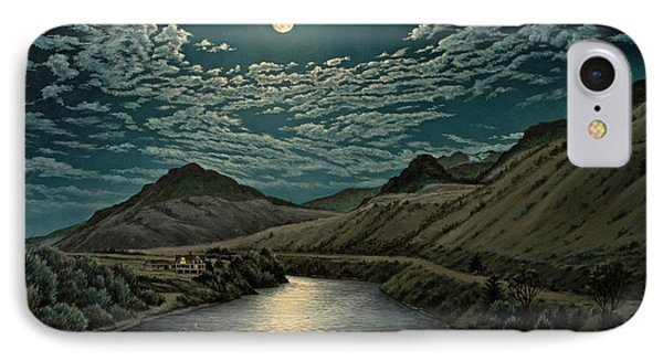 Moonlight On The Yellowstone IPhone Case by Paul Krapf