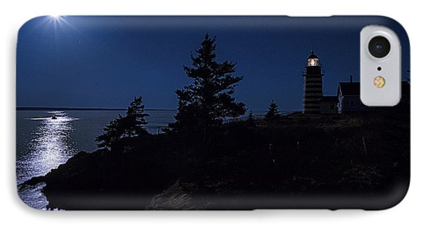 Moonlit Panorama West Quoddy Head Lighthouse Phone Case by Marty Saccone