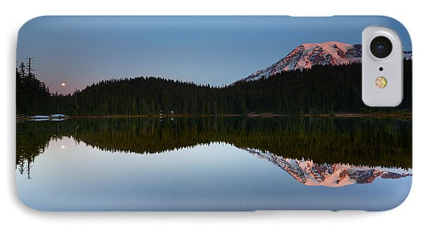 Moonset Over Rainier Phone Case by Mike  Dawson
