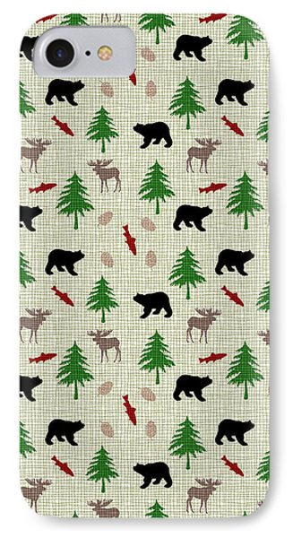 Moose And Bear Pattern IPhone 7 Case by Christina Rollo