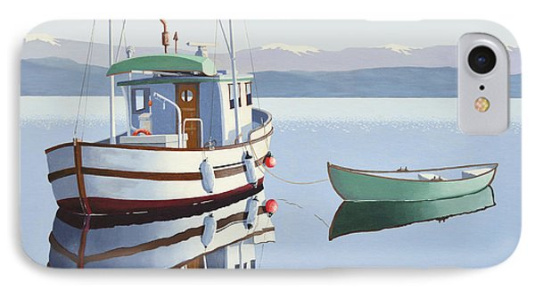 Morning Calm-fishing Boat With Skiff IPhone Case by Gary Giacomelli