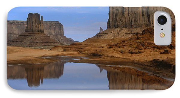 Morning Reflections In Monument Valley Phone Case by Sandra Bronstein