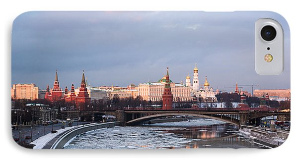 Moscow Kremlin In Winter Evening - Featured 3 Phone Case by Alexander Senin