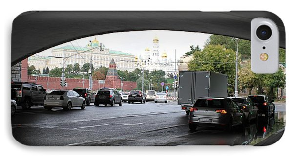 Moscow Kremlin Seen Through The Archway Of Greater Stone Bridge In Moscow I IPhone 7 Case by Anna Yurasovsky
