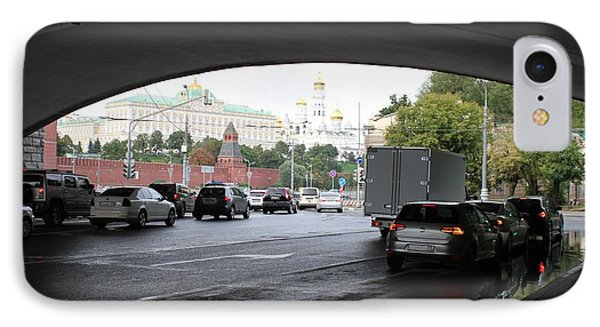 Moscow Kremlin Seen Through The Archway Of Greater Stone Bridge In Moscow I IPhone Case by Anna Yurasovsky