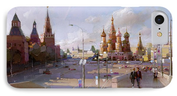 Moscow. Vasilevsky Descent. Views Of Red Square. IPhone Case by Ramil Gappasov