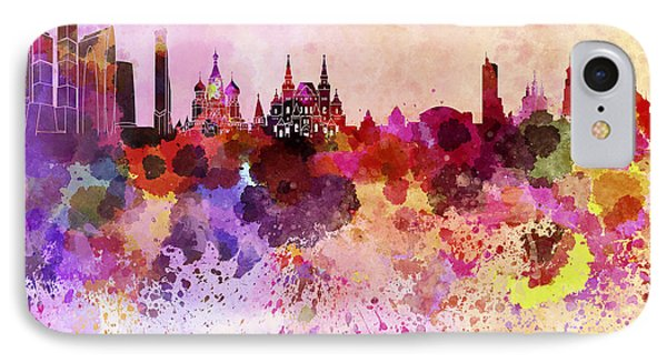 Moscow Skyline In Watercolor Background IPhone 7 Case by Pablo Romero