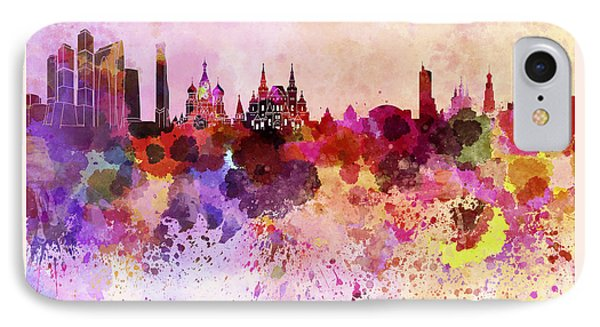 Moscow Skyline In Watercolor Background IPhone Case by Pablo Romero