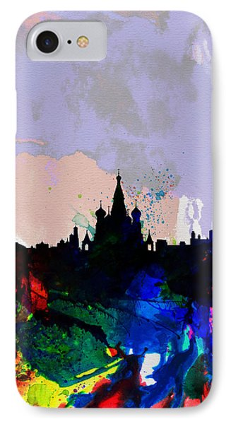 Moscow Watercolor Skyline IPhone Case by Naxart Studio