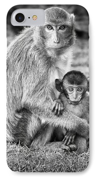 Mother And Baby Monkey Black And White IPhone Case by Adam Romanowicz