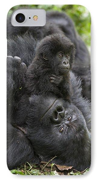 Mountain Gorilla Baby Playing IPhone 7 Case by Suzi  Eszterhas