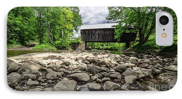 Moxley Covered Bridge Chelsea Vermont IPhone Case by Edward Fielding