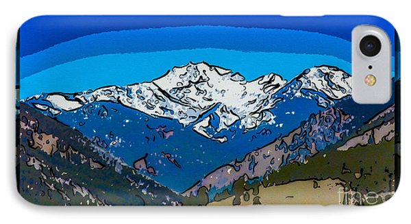 Mt Gardner In The Spring Abstract Painting  IPhone Case by Omaste Witkowski