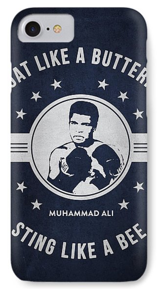 Muhammad Ali - Navy Blue IPhone Case by Aged Pixel